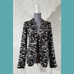 Talula Blurry Twigs Print Open Front Blazer Jacket